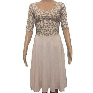 LulaRoe Nicole Dress, pale pink with gray dots
